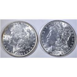 1886 & 1887 MORGAN DOLLARS, CH BU