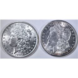 1887 & 1890 MORGAN DOLLARS, CH BU