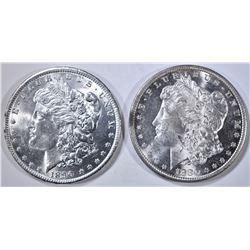 1880-S & 1890 MORGAN DOLLARS, CH BU