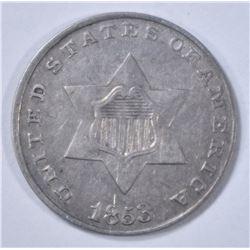 1853 3 CENT SILVER   XF/AU