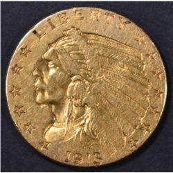 1913 $2.5 GOLD INDIAN  AU