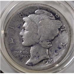 1916-D MERCURY DIME   VG