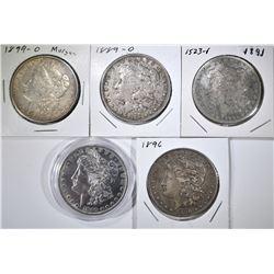 5 CIRCULATED MORGAN DOLLARS