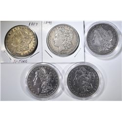 5 CIRCULATED MORGAN DOLLARS