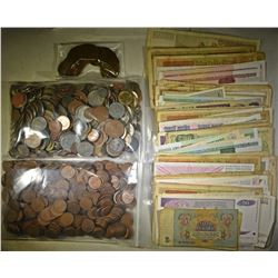 7 LBS FOREIGN COINS, 151 PIECES FOREIGN CURRENCY &