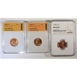 LOT OF 3 LINCOLN CENTS: