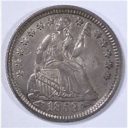 1853 WITH ARROWS SEATED HALF DIME  NICE UNC.
