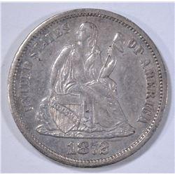 1872-S SEATED DIME  CH AU