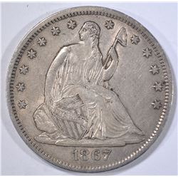 1867-S SEATED HALF DOLLAR  CH AU