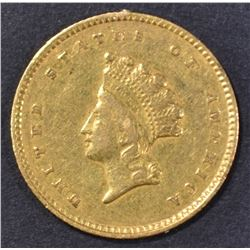 1854 $1 GOLD TYPE 2 INDIAN PRINCESS AU