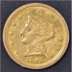 1846-O $2.5 GOLD LIBERTY  AU  OLD CLEANING