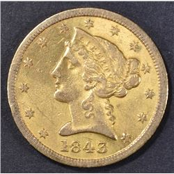1843-D $5 GOLD LIBERTY  SMALL DATE XF