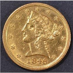 1846-D $5 GOLD LIBERTY  BU