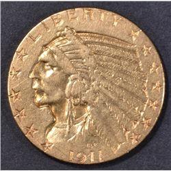 1911-D $5 GOLD INDIAN  AU