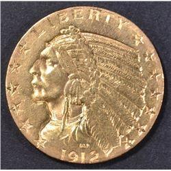 1912-S $5 GOLD INDIAN  BU  OLD CELANING