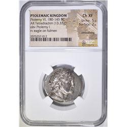 180-145 BC  PTOLEMY VI  NGC  CH XF