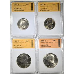 GROUP OF 4 SGS GRADED COINS