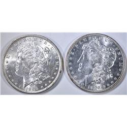 1886 & 1896 MORGAN DOLLARS, CH BU