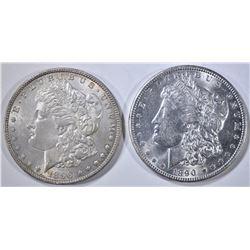 1890 & 1896 MORGAN DOLLARS, CH BU