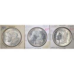 (3) 1921 MORGAN DOLLARS, BU