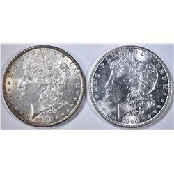 1890 & 1898 MORGAN DOLLARS, CH BU