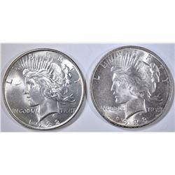 1922 & 1923 PEACE DOLLARS, CH BU
