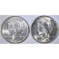 1924 & 1925 PEACE DOLLARS, CH BU