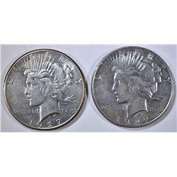 1927 AU & 1927-D XF PEACE DOLLARS