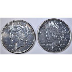 1926-P & S PEACE DOLLARS, AU