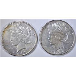 1927-S & 1928-S PEACE DOLLARS, AU
