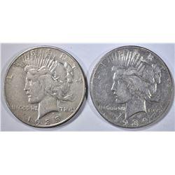 1934-D & 1935-S PEACE DOLLARS, AU