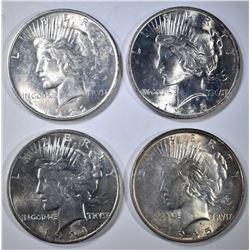 1922, 23, 24, & 25 PEACE DOLLARS, BU