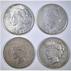 (4) CIRC PEACE DOLLARS- 1923-D &S, 24-S, AND 25-S