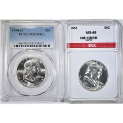 1958 BGC SUPERB GEM & 1960-D PCGS MS-63 FBL FRANKL