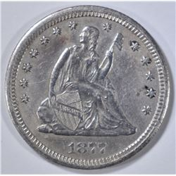 1877-CC SEATED LIBERTY QUARTER  AU