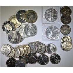 MIXED LOT KENNEDY, EISENHOWER, SILVER EAGLES