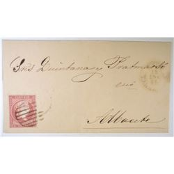 1858 SPANISH POSTAL COVER W/STAMP &