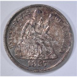 1887 SEATED LIBERTY DIME  GEM BU