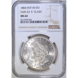 1884 HOT 50 MORGAN DOLLAR   NGC MS-64