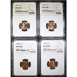 1955-S, 68-D, 69-S, 72 LINCOLN CENTS, NGC MS-66 RD