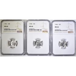 1946, 48 & 51 ROOSEVELT DIMES, NGC MS-66