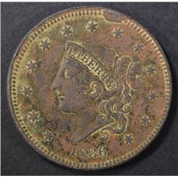 1836 LARGE CENT, XF