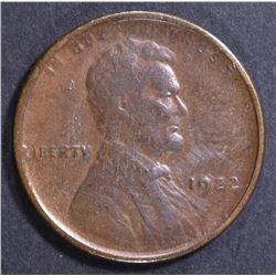 1922 NO D STRONG REVERSE LINCOLN CENT CH AU