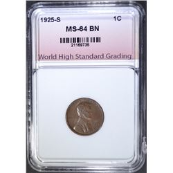 1925-S LINCOLN CENT, WHSG CH/GEM BU BN