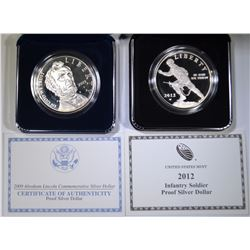 2- PROOF COMMEMS- 2012 INFANTRY & 2009 ABE LINCOLN
