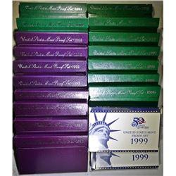 PROOF SETS 1990-1999- IN ORIG PACKAGING