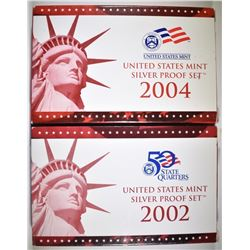 2002 & 2004 U.S. SILVER PROOF SETS ORIG PACKAGING