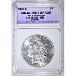 1896-S MINT ERROR MORGAN DOLLAR, APCG CH BU