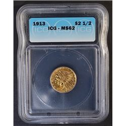 1913 $2.5 GOLD INDIAN ICG MS-62
