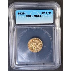 1929 $2.5 GOLD INDIAN ICG MS-61